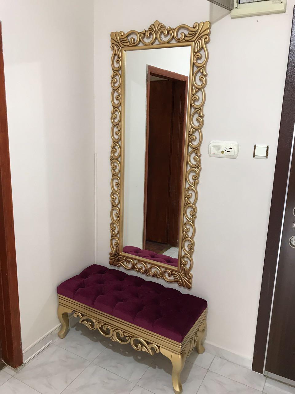 Dantel Puf Ayna Gold